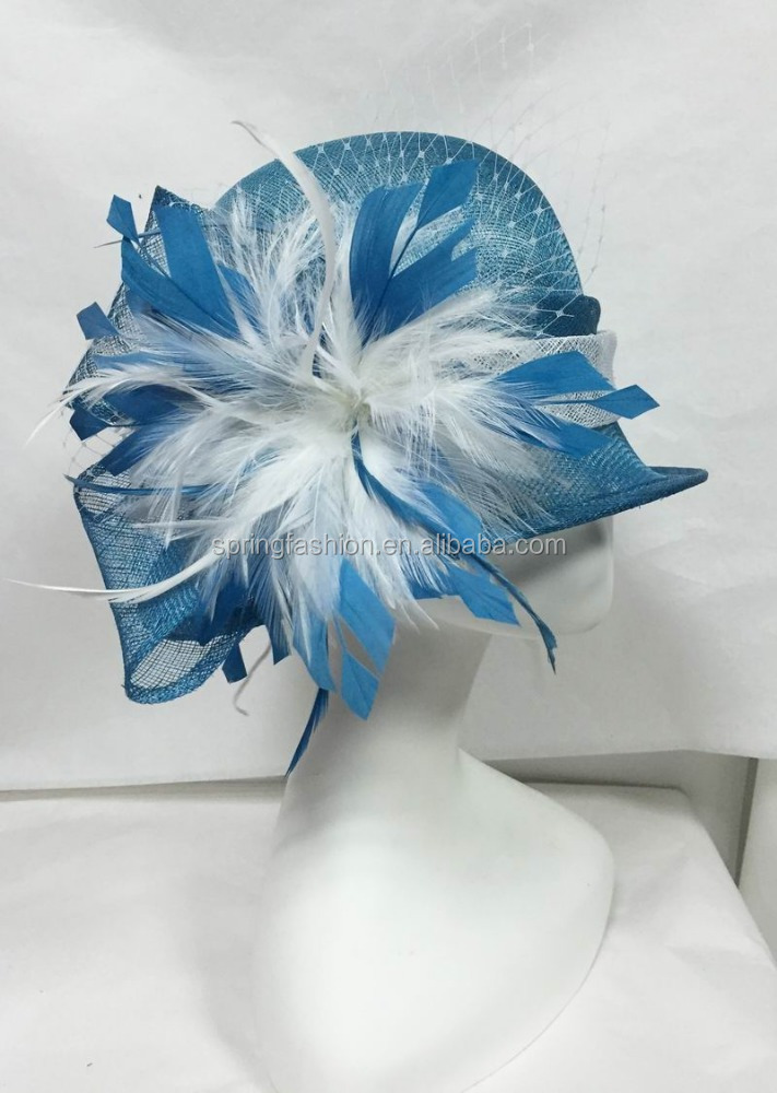 Gorgeous sky blue white sinamay hat,church hat,racing hat,small brim hat factory wholesale