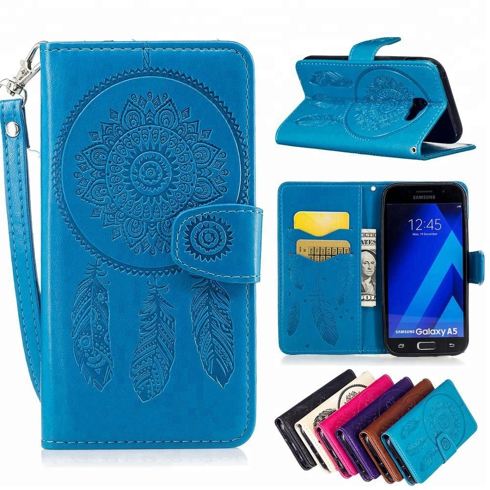 High Quality 3D Wind chimes embossed Printed glitter stand pu leather case for Samsung A5