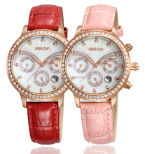 round dila new fashion leather strap luxury hand watch for girl with diamonds