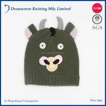 Cute Handmade Customize 100% Acrylic Cartoon Animal Ox Cow Fall Winter Warm Unisex Men Women Teen Multi Color Knitted Beanie Hat