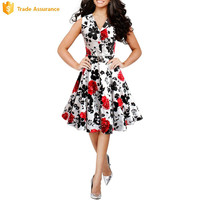 OEM Factory New Design Floral Summer Dress Fashion Woman Apparel