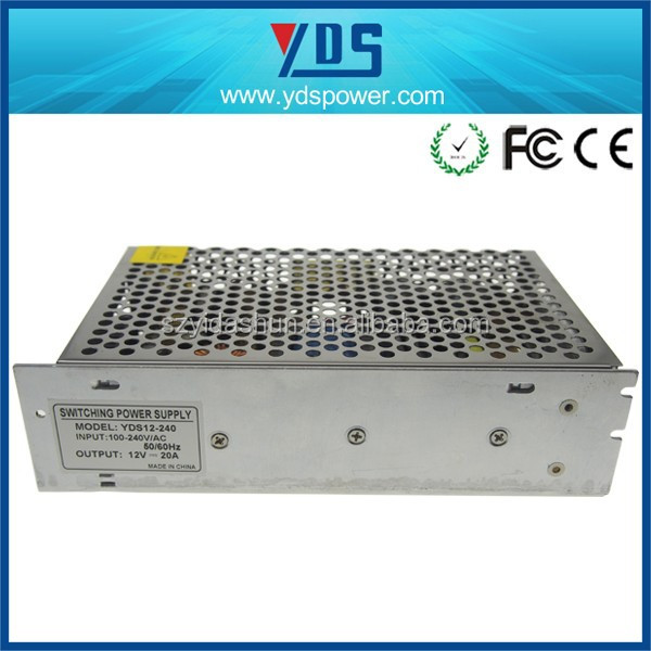 high efficiency and good quality 12V led power supply 240W constant current or constant voltage output(CE/FCC approved)