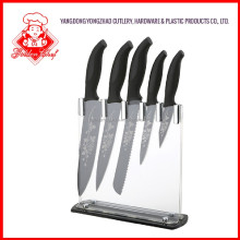 Non Stick coating black with laser flower PP+TPR Handle Kitchen Knife Set