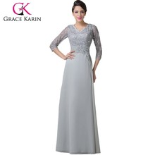 Grace Karin Grey Mother of Brides Dresses Chiffon Long Sleeve Lace Evening Gown CL6247