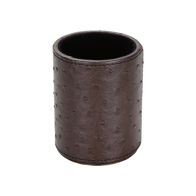 High Quality Fancy Office Leather Round Pen Container For Table
