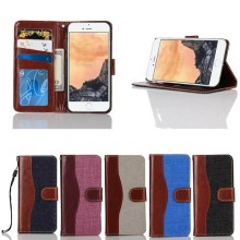 High Quality Jeans Style Leather Flip Case for iPhone 7 with Lanyard, 5 Colors Available