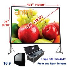 "16:9 Fast Fold Projector Projection Screen with Front & Rear Projection (150"" Diagonal / 11.1' X 5.4') with Drape Kits"