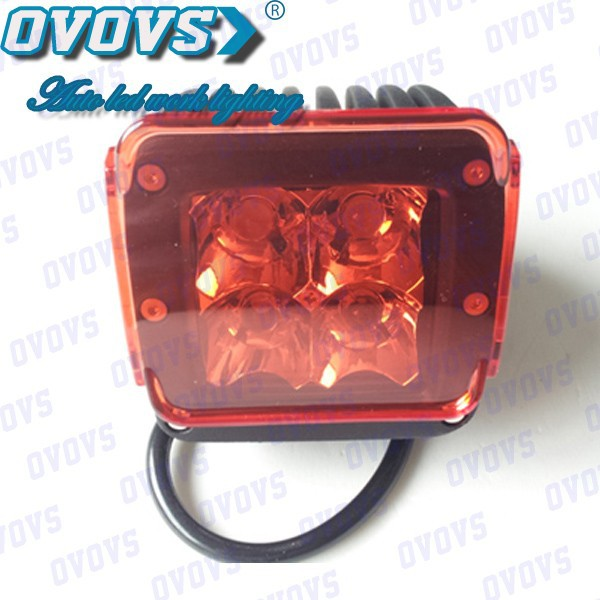 12w auto led work light square led driving light red for Fire-fighting vehicles, 4x4 Car Accessories