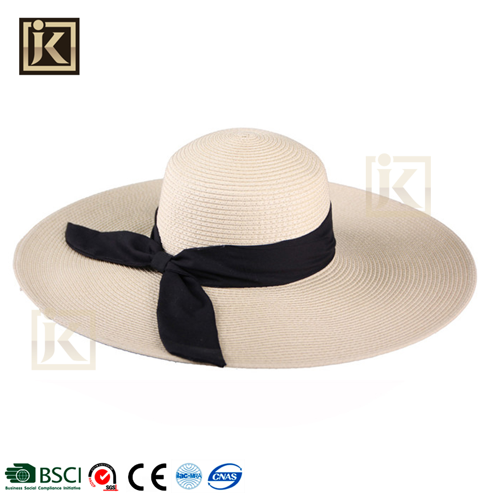 JIAKIJYI asian classic stylish straw hat fashion beach lady hat high quanlity wide brim lady summer beach paper straw lady hat