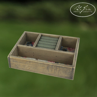 Wood With Fabric Ring Display Box Tabletop Decor