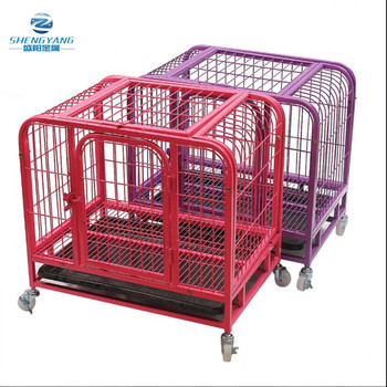 "31"" dog cage crate suitcase folding animal heavy duty pet puppy pen with tray wheels"