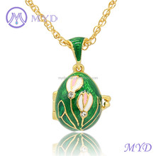 Russian Style Color Enamel White Pink Tulip Flower Faberge Egg Pendant Necklace Locket