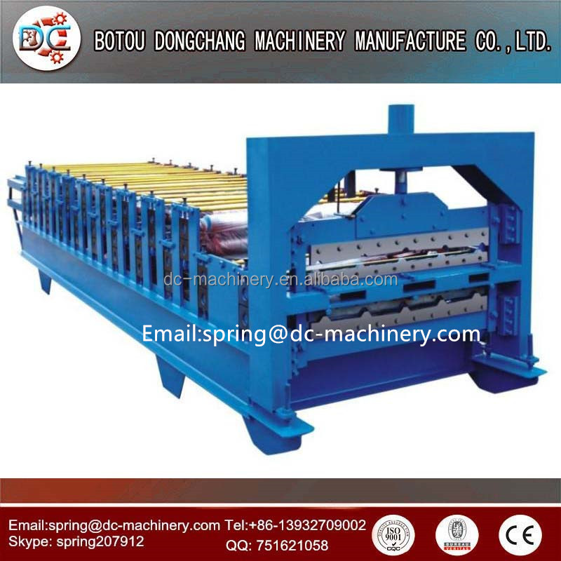 Africa popular type double layer 950+1000 Metal roof slate, shake roll forming machine for galvanized tile