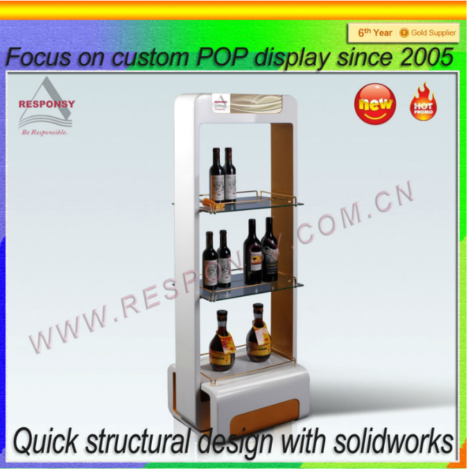 POP POS wood wine display stand for furniture wine shop