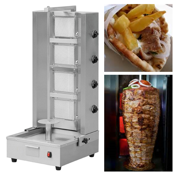 Hospitality Machinery 4 Burner Spit Machine Gyros Kebab Gas Grill