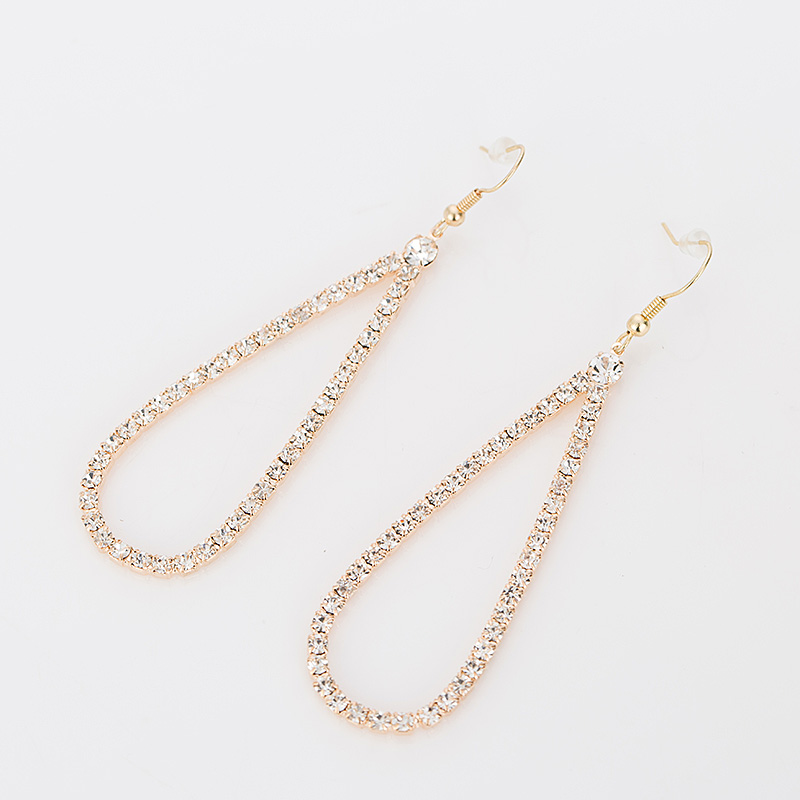 Fashion Graceful Women Jewellery Full Crystal Gold Plated Filled Long Drop Earrings For Women High quality gift party