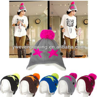 warm wool winter hat star design fashion handsome knitted hat cap with earflaps