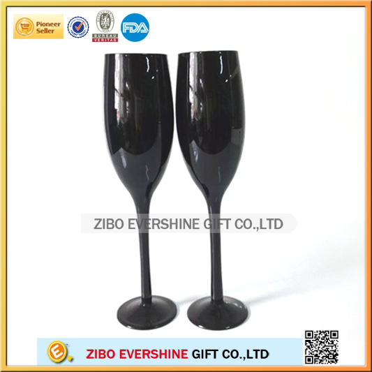 Colored black stem glass champagne flutes wholesale