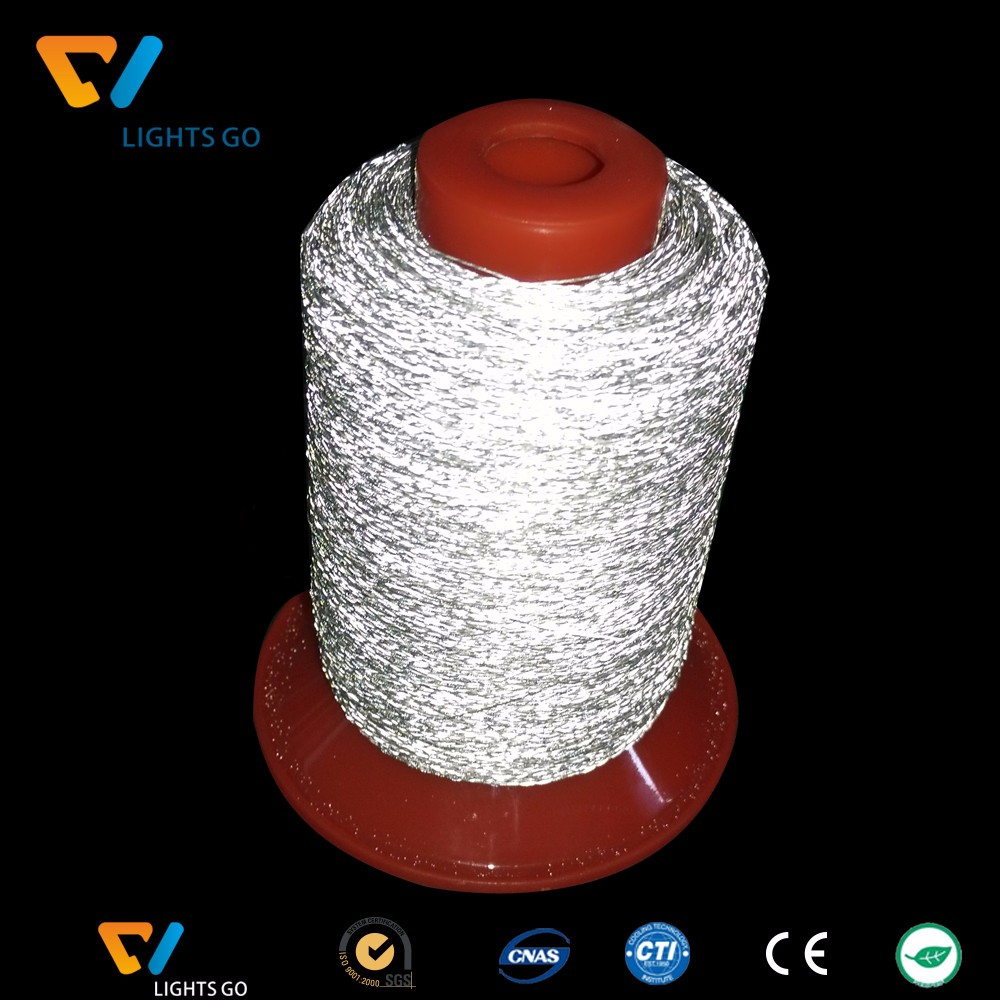 2mm wide double sides reflective PET knitting yarn for making reflective webbing / 1.5mm single side reflective yarn