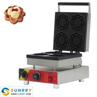 Electric sunflower type belgium rotary cupcake waffle slab mouldf maker
