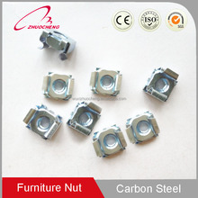 China Factory Blue&White Zinc Plated Carbon Steel Square Weld Lock Cage Nuts For Wood Furniture