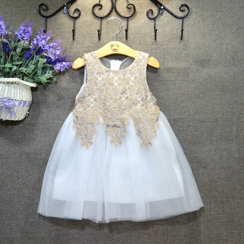 S32823W 2017 Baby Girl Baptism Dress Toddlers Girls Clothing Princess Party Flower Lace Formal Kid Dress