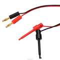 Hot Multimeter Dual Test Hook Clip to Male Banana Plug Cable 4ft 4 in 1