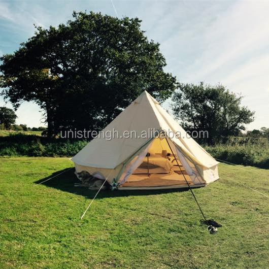 Outdoor Waterproof Family Camping and Winter Glamping Cotton Canvas Yurt Bell Tent with Mosquito Screen Door and Windows