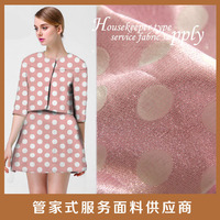 Two tone white dots dress for garment polyester pink jacquard woven fabric for sale