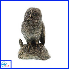 Polyresin owl figures, resin hawk statue, polystone animal sculpture