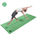 Gymnastics wet grip printed position guide line eco friendly PU natural rubber yoga mat