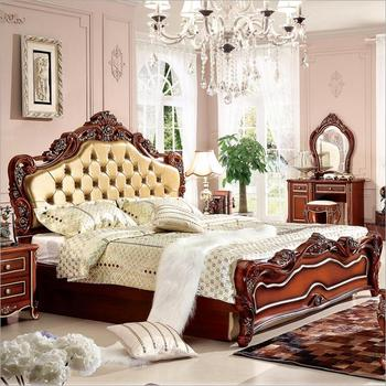 modern european solid wood bed Fashion Carved 1.8 m bed french bedroom furniture o1031p10222