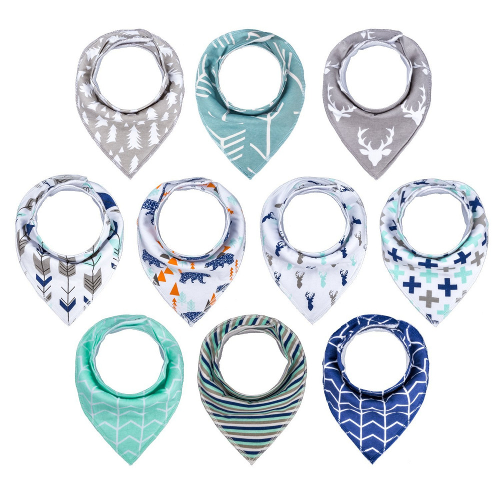 Wholesale 2018 <strong>10</strong>-pack absorbent 100 organic cotton bandana bibs upsimples baby unisex drool bibs set for teether