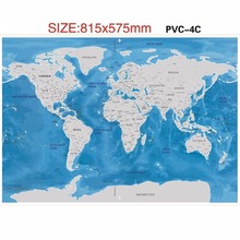 Wholesale 2017 popular ocean scratch world map plastic blue colors foil layer coating poster scratch world off map