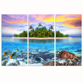 3 Panel Tropical Island Canvas Painting Wall Decor Turtle in Ocean Poster Seascape Photography Giclee Print Artwork