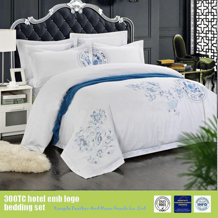 Embroidery bed sheet luxury hotel bedding 100% cotton manufacturer in China