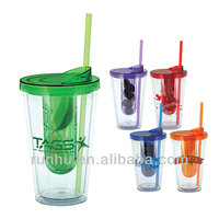 3d transparent black blue plastic cups with lid and straw