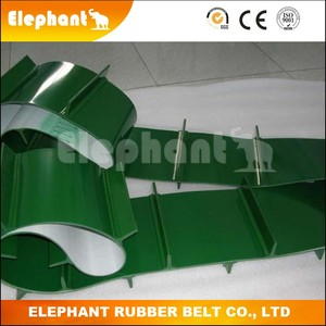ISO Standard Oil Resistant PVC Green Conveyor Belt with Baffle Plate
