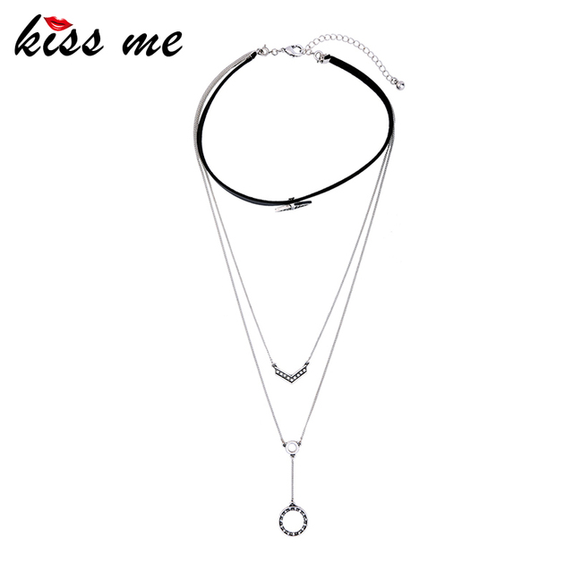 Layered Y Style Imitation Leather Choker Necklace In Stock Wholesale Fashion Jewelry