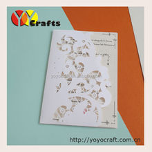 Special design custom laser cut pocket folded wedding cards with envelope, seals