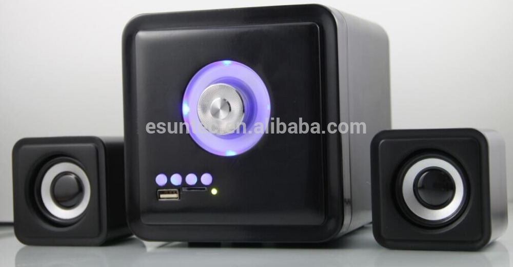 Hot sell New Design 2.1 Subwoofer USB Deluxe Speakers With LED Light, ST-2031K