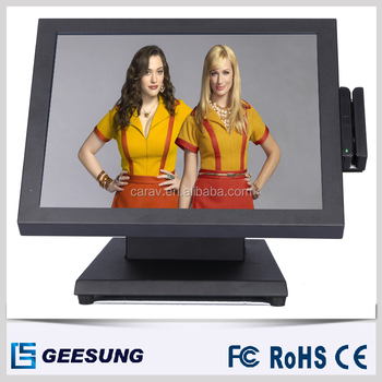 factory price 15 inch stainless steel monitor with card reader MSR
