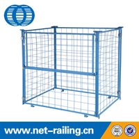 Collapsible steel folding warehouse stack zinc cage with wooden pallet