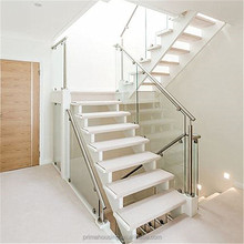 White solid wood tread glass railing stainless steel hdanrail stair