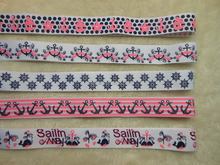 Marine Style series ink screen printed grosgrain ribbon