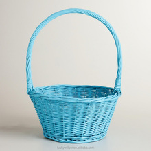 Beautiful Aqua wicker Easter gift basket with handle