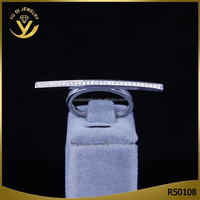 Micro pave strip carve S 925 Sterling Silver Ring zircon AAA Silver Jewelry Manufacturer