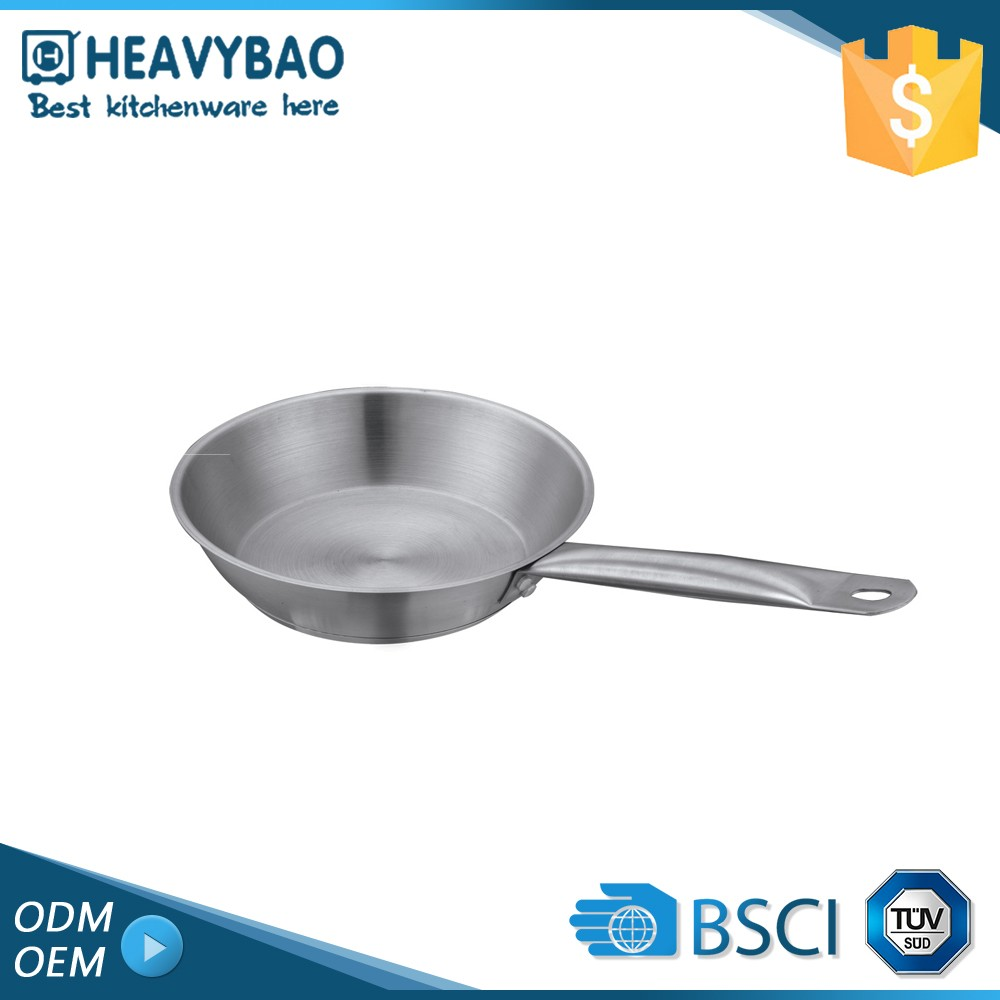 Heavybao Super Quality Stainless Steel Frying Pan Pot Capsule Bottom Single Handle Cooking
