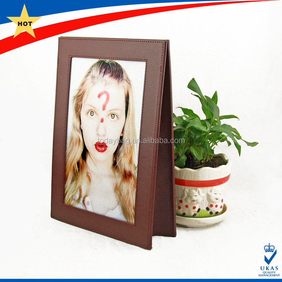 Desktop PU leather picture photo frame for memory / leather picture photo frame