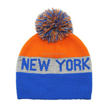 Skiing Hat Winter Sports New York Acrylic Beanie Knitted Pom Pom Hat